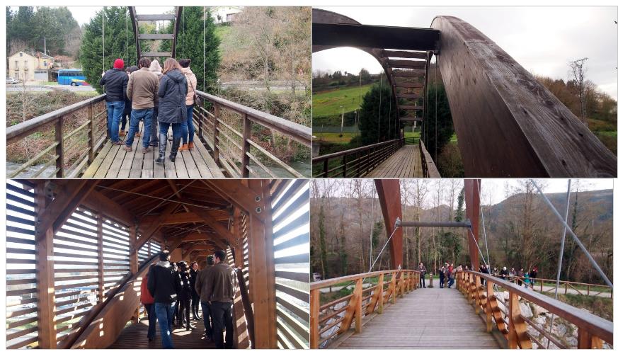 Pasarelas visitadas durante el trayecto por los alumnos del Máster en Ingeniería de la Madera Estructural.